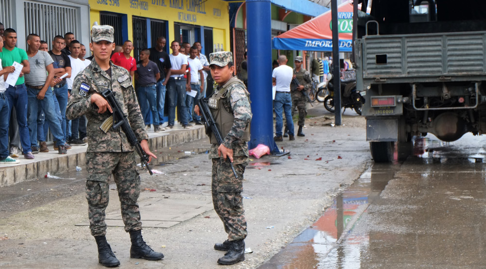 Honduran soldiers in the streets of Tocoa, Bajo Aguán