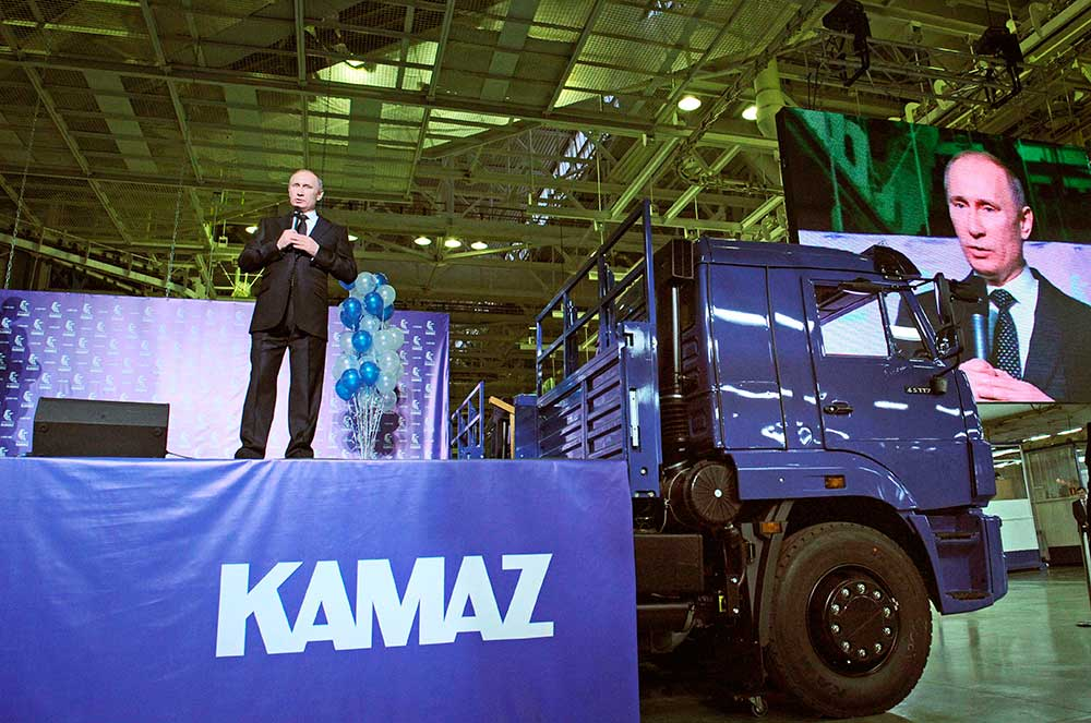 Russian Prime Minister Vladimir Putin addresses workers of KAMAZ truck plant in 2012