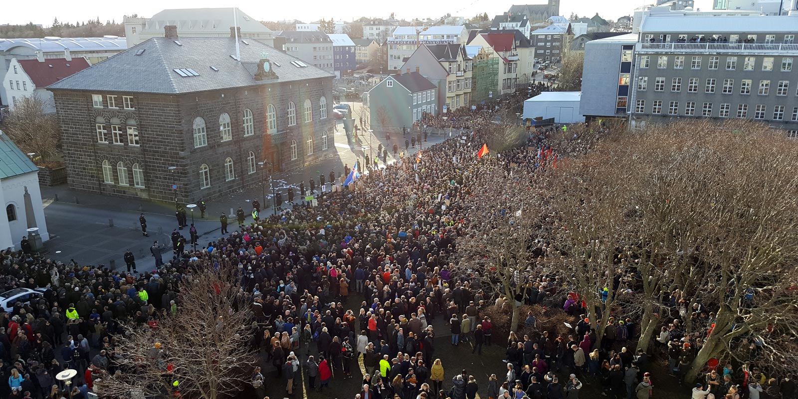 Protesters outside Iceland's parliament in Reykjavik on Monday