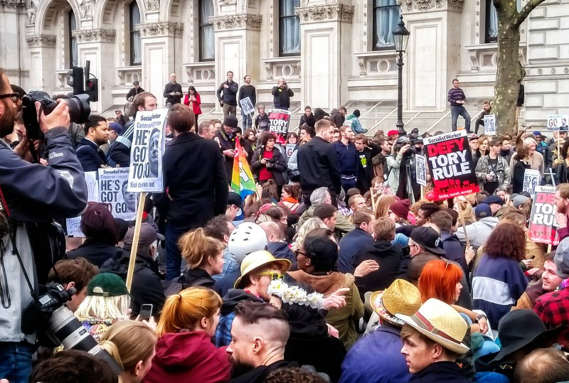 Protesters outside Downing Street on the weekend
