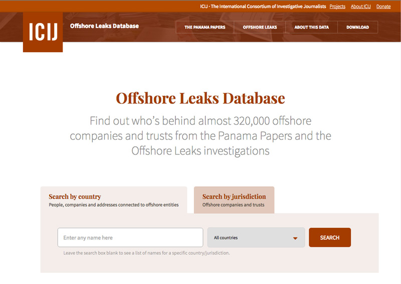 ICIJ's Offshore Leaks database