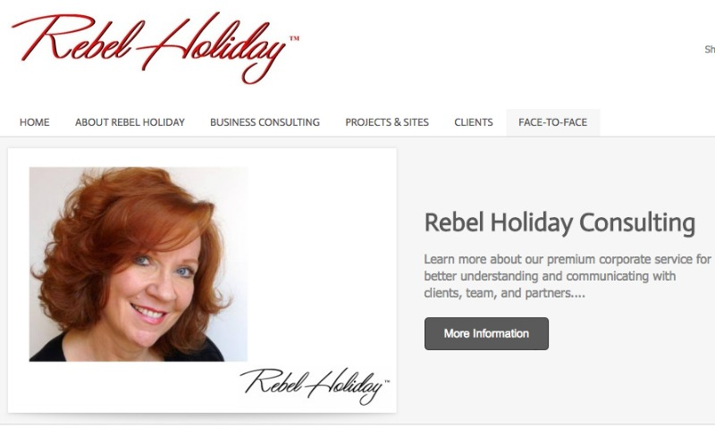 A screenshot from Rebel Holiday's current personal website, rebelholiday