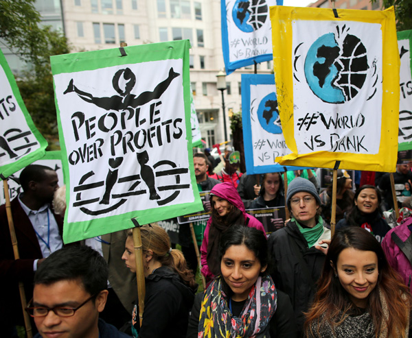 Protesters rally near the World Bank headquarters in Washington