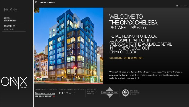 A screenshot from the Onyx Chelsea promotional website