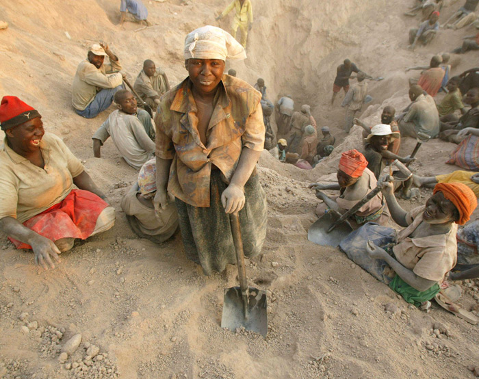 Women in Zimbabwe digging for diamonds