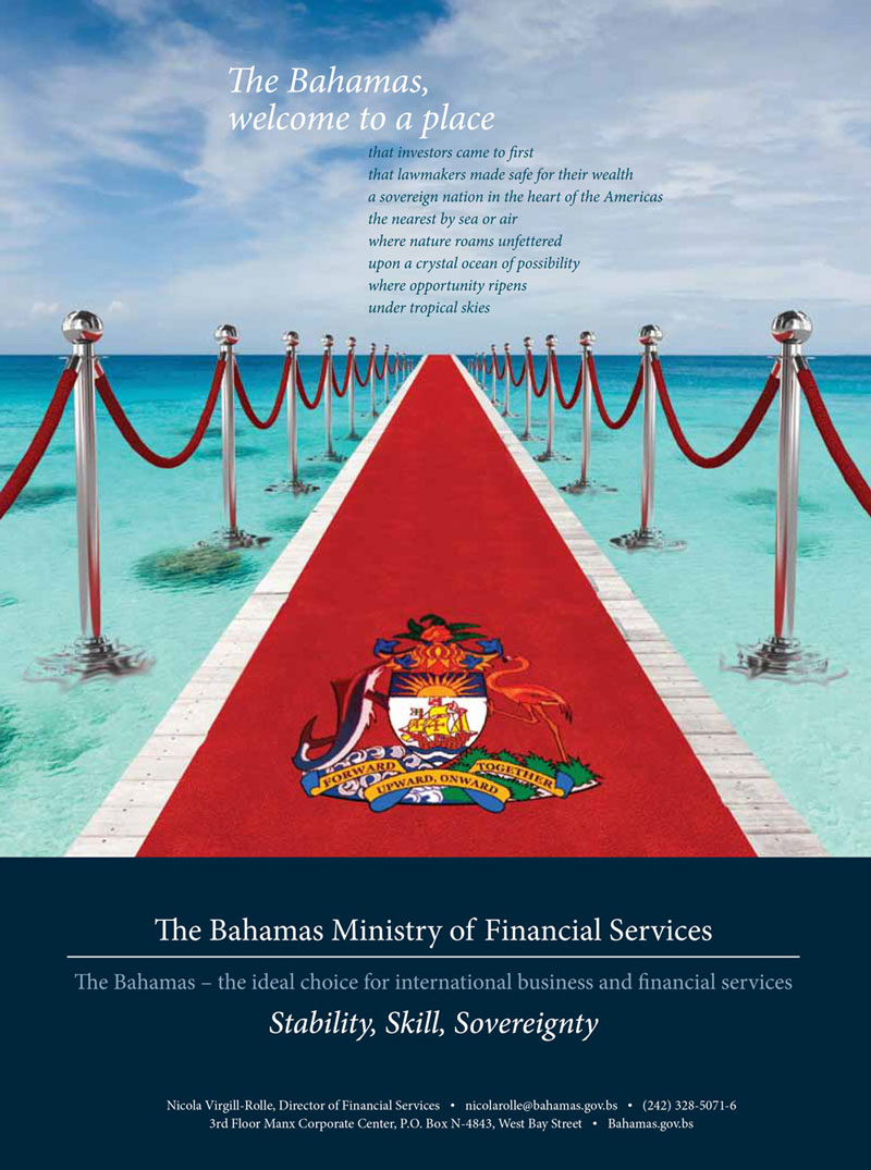 A brochure promoting the Bahamas financial services industry