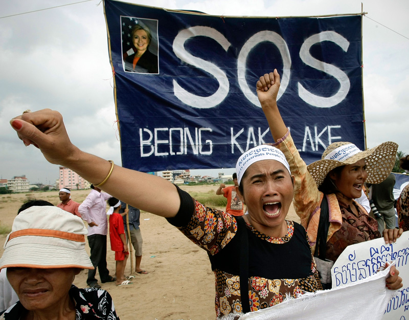 Cambodians, who were evicted from the Boueng Kak lake area, at a rally in 2012