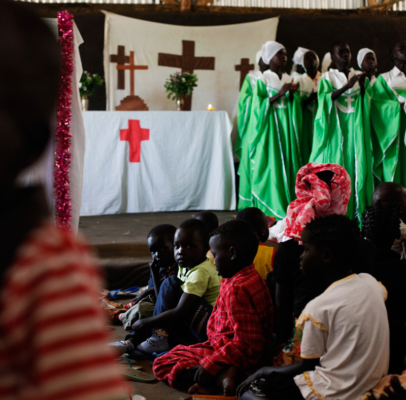Anuak refugees, who fled Ethiopia, worship at a church in the Gorom Refugee Camp in South Sudan