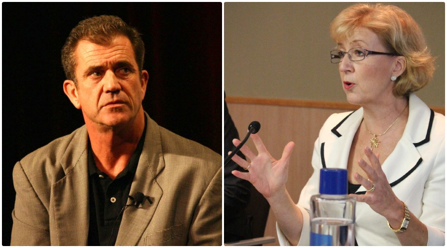 Actor Mel Gibson, left, and British MP Andrea Leadsom