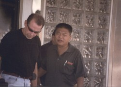 John Tung Wu, pictured with FBI agent Bob Hamer, imported Chinese counterfeit cigarettes into Los Angeles