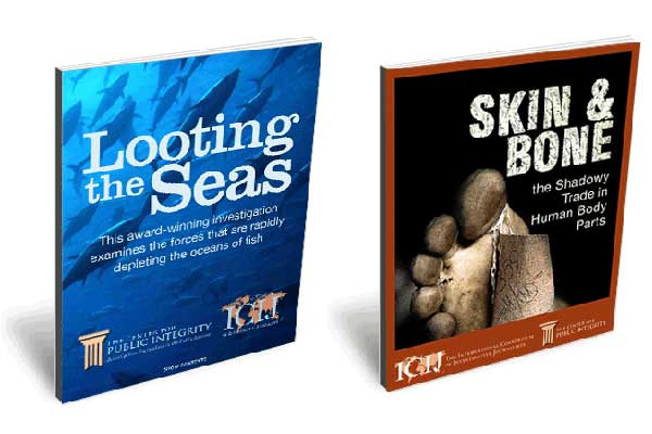 Two of ICIJ's eBooks: Looting the Seas and Skin and Bone